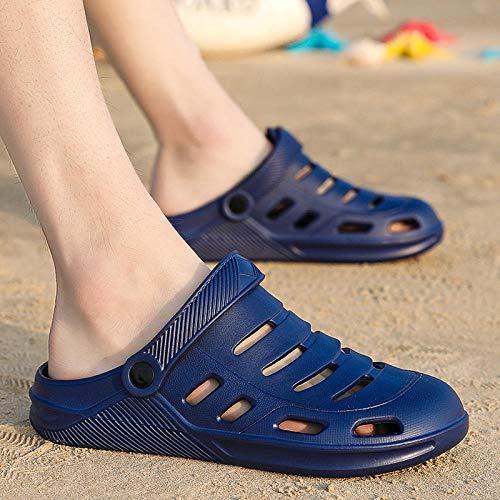 WTFYSYN Hombres Uso En Interiores Zapatillas,Sandalias de Gran tamaño para Hombres, Zapatos de Playa Huecos, Zapatos con Agujeros Antideslizantes de Doble Uso-E_40,Baño Sandalia Suela De Espuma