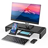 Monitor Stand Riser, Jelly Comb Foldable Computer Monitor Riser, Computer Stand with Storage Drawer, Phone Stand for Computer, Desktop, Laptop, Save Space (Black)