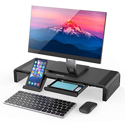 Monitor Stand Riser, Jelly Comb Foldable Computer Monitor Riser, Computer Stand with Storage Drawer, Phone Stand for Computer, Desktop, Laptop, Save Space (Black)-S01