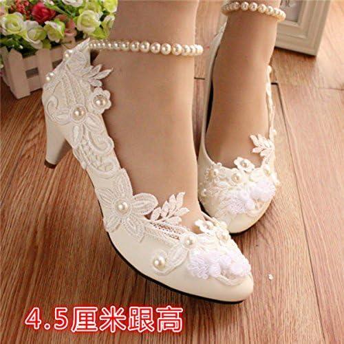 JINGXINSTORE Les femmes à la la main Pearl blanc Lace Bridal chaussures de mariage à talons hauts  promotions promotionnelles