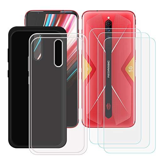 DQG Cover per ZTE Nubia Red Magic 5G + Pellicola Protettiva in Vetro Temperato, Morbido Silicone Custodia Trasparente + Nero TPU Case - 3 Pezzi HD Schermo Protettore per (6.65')