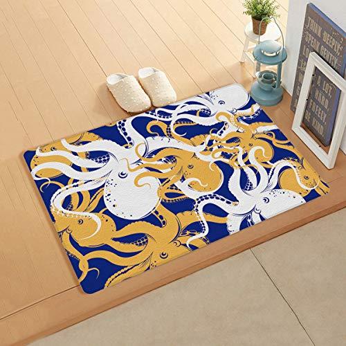Knight Dream Teppich aus Kunstleder glatt – Marine Life Octopus Kraken Illustration Weiß Gelb Schwarz Teppich für Schlafzimmer Wohnzimmer Modern Home Decor 50,8 x 99,1 cm