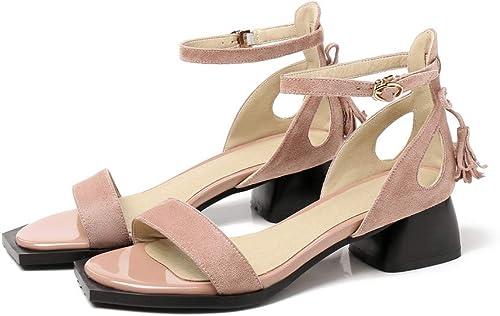 JRSHODA Nouvelles Femmes Sandales Mode Troupeau Chaussures D'été Grande Taille 33-43 Solides Chaussures De Sport à Talons Hauts Les Les dames Chaussures