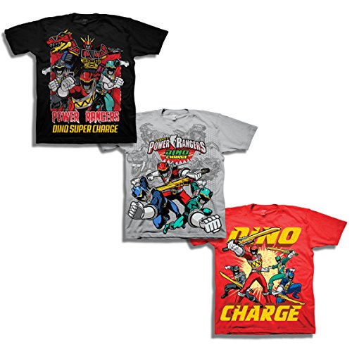 Power Rangers Boys' Little Boys' Super Dino Charge 3 Pack T-Shirt Bundle, Black/Silver/red, S-4