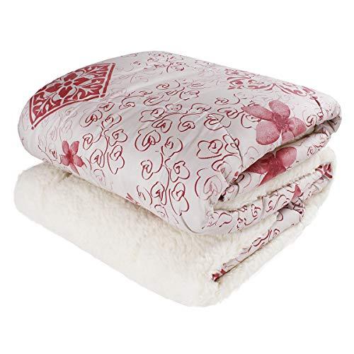 SaRani - Colcha de invierno para cama de matrimonio, diseño moderno, color rojo