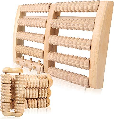 Fußmassageroller Holz mit Handmassageroller Fuß Massage für Stressreduzierung, Krämpfen, Arthrose, Fußschmerzen, Entspannung Vorbeugung und Linderung von Schmerze