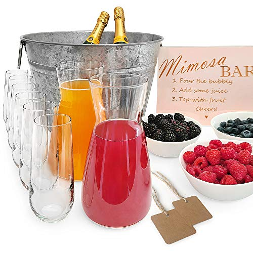 Capriccio Mimosa Bar Kit - Mimosa Bar Supplies include Glass Carafes, Champagne Flutes, Bowls, Steel Ice Tub, Bar Sign. Ideal Gift, for Bridal Shower or Wedding Registry. 17-Piece Set