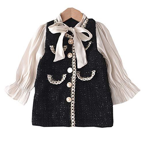 Loalirando Baby Mädchen Tweed Cardigan Strickjacke +Minirock Prinzessin Kleid Herbst/Winter Kleidung Set (Schwarz-Kleid, 2-3 Jahre)