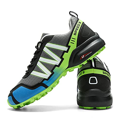 KUXUAN Calzado de Ciclismo para Hombre, Calzado de Ciclismo de Interior Sin Bloqueo,Zapatillas de Ciclismo de Montaña Impermeables,Calzado Deportivo Antideslizante Al Aire Libre,Black+Green-42