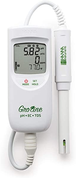 GroLine Hydroponic Waterproof PH EC TDS Temperature Portable Meter