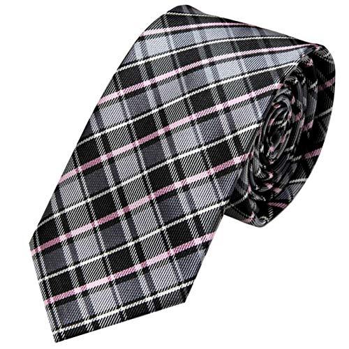 GASSANI Schmale dünne 6cm Krawatte kariert   Karo Herrenkrawatte zum Sakko Anzug   Schlips Binder mit Schwarze Graue Rosane Karos