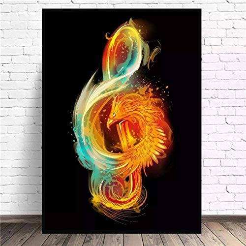 SXXRZA Hermosa Imagen 50x70cm sin Marco Notas Musicales Fuego Lienzo Pared Arte impresión Cartel Cuadros Pintura decoración para Sala de Estar