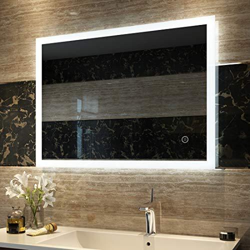 Duschdeluxe Badspiegel Lichtspiegel 80 x 60 cm LED Spiegel Wandspiegel nergieeffizienzklasse A ++ mit Beleuchtung kaltweiß Lichtspiegel mit Touchschalter
