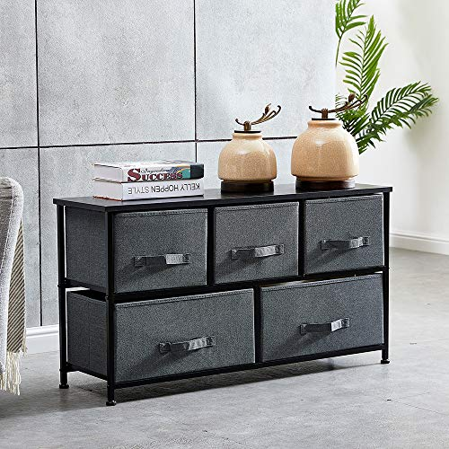 4HOMART Shabby Chic Chest of Drawers, Black Wooden Storage Cabinet with 5 Linen Fabric Drawers, Metal Frame Sideboard Cupboard Clothes Organiser Bedside Unit (Dark Grey, 3 + 2 Drawer)