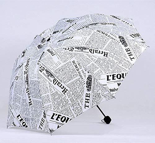 WYJ Regenschirm Ölgemälde Zeitung Muster Regen Regenschirm Winddicht Reise Männer Regenschirm DREI Falten Metall Kompakte Frauen Regenschirm