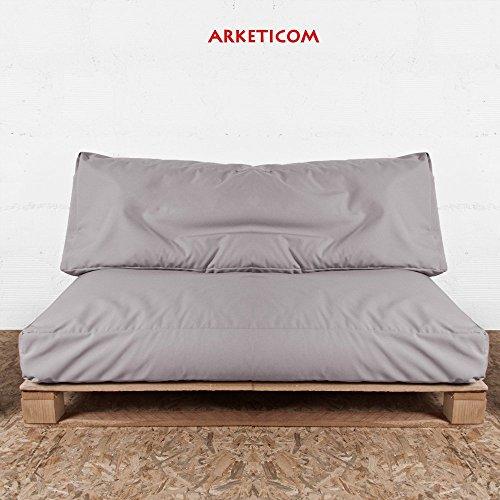 Arketicom Soft Set Outdoor Kissen (Sitzkissen + Rücken) WASSERABWEISEND ABNEHMBAR (Doppel Innenfutter) Polsterung Polystyrolperlen Acrylic palettenmöbel 120x80 loungemöbel Polster für den Garten Grau