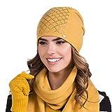 Kamea Dame Mütze Kopfbedeckung Warm Gemustert Einfrabig Winter Irina, Senfgelb,Einheitsgröße