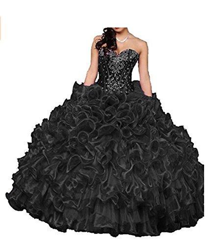ANGELA Women's Sweetheart Crystal Ruffles Ball Gown Long Quinceanera Dress