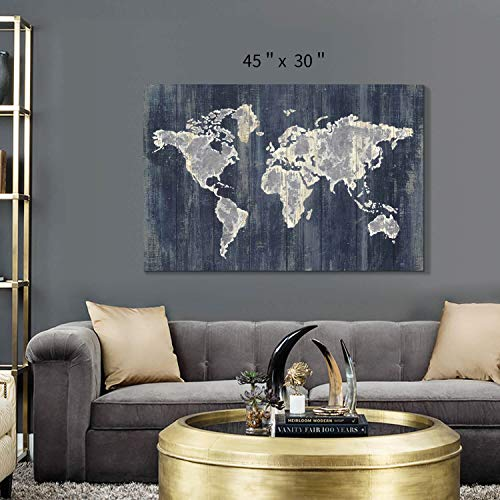 Hardy Gallery World Map Wall Art Picture: Navy Blue Abstract Map Painting Print on Wrapped Canvas for Office Living Room…