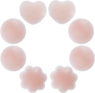 Rovtop 4 Paires Réutilisable Cache-tétons Auto-adhésif Invisible en Silicone Nipple Cover Ronde & Prune & Love-Type avec U...