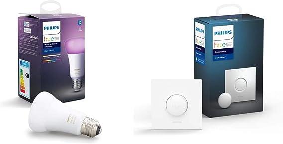 Philips Hue Bombilla Inteligente LED E27, con Bluetooth, Luz Blanca y Color, Compatible con Alexa y Google Home + Hue Interruptor Smart Button, Compatible con Alexa y Google Home