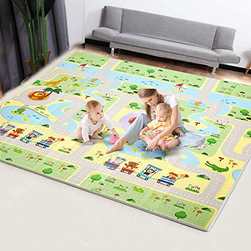 KGK Baby Play Mat Large Waterproof Folding Crawling Mat for Baby Double Sided Cartoon Printing Pattern Portable Non Toxic Playroom Mat High Flexibility for Infant Toddler Kids-78.7 x 70.9 x 0.6inch