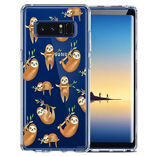 Unov Galaxy Note 8 Case Clear with Design Soft TPU Shock Absorption Slim Embossed Pattern Protective Back Cover (Hanging Sloth)