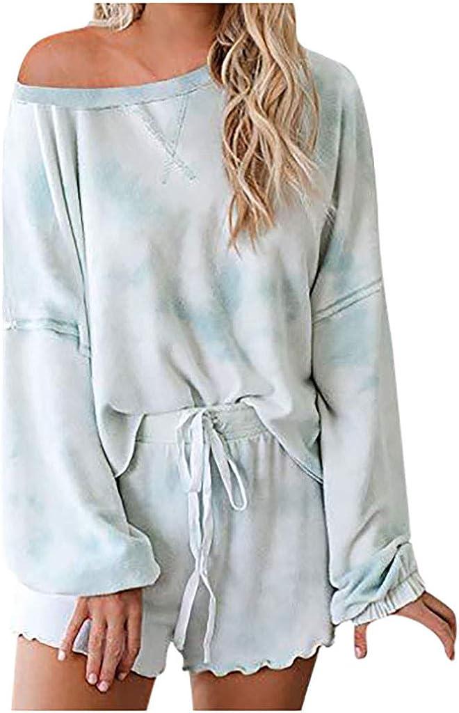 Pajamas Set for Women, Womens Fashion Tie Dye Loungewear Long Sleeve Button Down Tops Shirts Elastic Drawstring Shorts