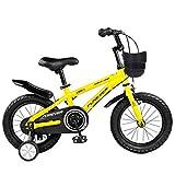 """Dsrgwe Kinderfahrrad, Kinderfahrrad, Schulung Bike for 2-11 Jahre Mädchen & Jungen, 12"""", 14"""", 16"""", 18"""" Kinder-Bike mit Stützrad & Handbremsen, 95% Assembled (Color : Yellow, Size : 14inch)"""