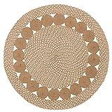 Purity Eco Tapis Rond tressé en Coton Naturel et Jute, Coton et Jute, Naturel, 90 cm x 90 cm