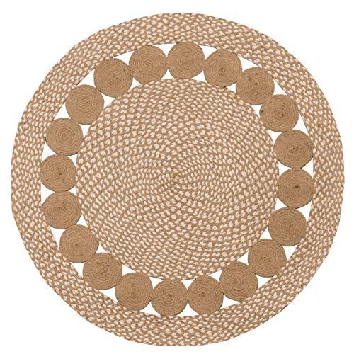 Pureza Eco - Alfombra redonda trenzada de algodón natural y yute (90 x 90 cm)