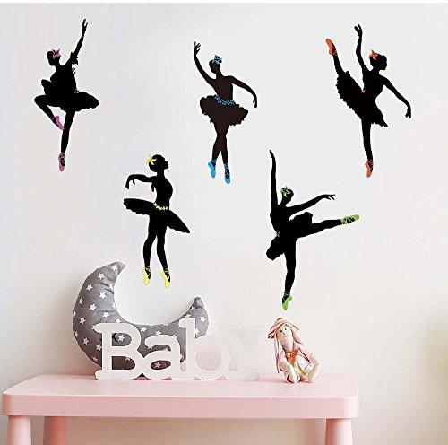 ufengke Silueta de Bailarines de Ballet Pegatinas de Pared 5 Poses de Bailarina & Zapatos Multicolores Calcomanías de Pared de Vinilo de DIY Extraíble Sala de Estar, Dormitorio, Dance Studio Mural