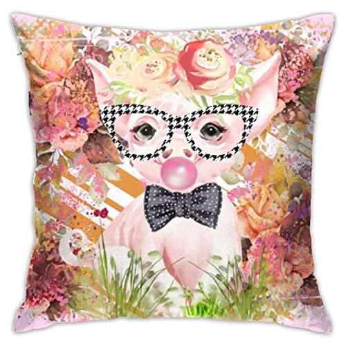 GOSMAO Funda de almohada para sofá de 4 fundas de almohada con diseño de cerdo con gafas, cuadrada, 45,7 x 45,7 cm