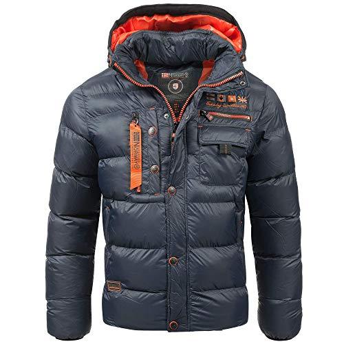Geographical Norway Herren Steppjacke Winterjacke S - 7XL – Gefütterter Warmer Anorak - Outdoor Jacke für den Winter/Herbst im Bundle mit UD Beanie (6XL, Navy)