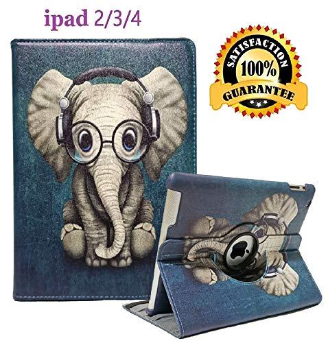iPad 2/3/4 Case - 360 Degree Rotating Stand Smart Case Protective Cover with Auto Wake Up/Sleep Feature for Apple iPad 4, iPad 3 & iPad 2 (Elephant)
