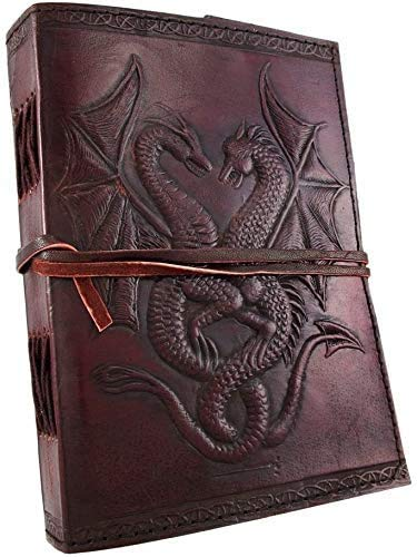 AzureGreen DOUBLE DRAGON Blank Page BOOK Handcrafted Leather Writing Unlined 8 x 6 JOURNAL