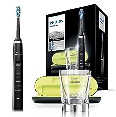 Philips Sonicare DiamondClean Brosse à dents électrique HX9359/89, brosse à dents insonorisées avec 5 programmes de nettoyage, minuterie, chargeur de voyage USB et verre de chargement, noir