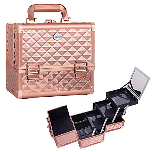 Maletin Maquillaje Estuche Maquillaje Neceser Caja Maquillaje Cosméticos de Viaje Beauty Case Profesional Maletin Manicura Joyero con Soporte de Cepillo Extraíble y Espejo 25 x 18 x 23.5CM, Oro Rosa