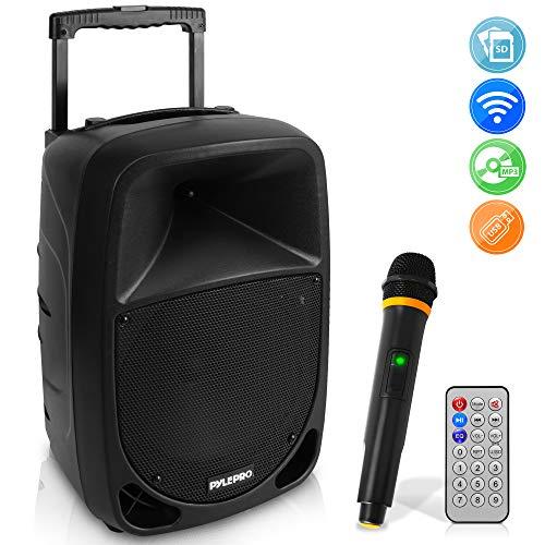Pyle PSBT105A Altavoz autoamplificado Karaoke portátil con batería Woofer 10' Bluetooth y micrófono inalámbrico