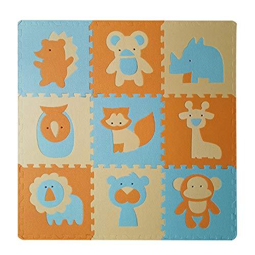 WZHIJUN Alfombrilla de juegos para bebé Niño Dibujos Animados Rompecabezas Actividad Pad de Juego 9 Piezas Espuma Baldosas de Cerámica con Frontera (Color : G)