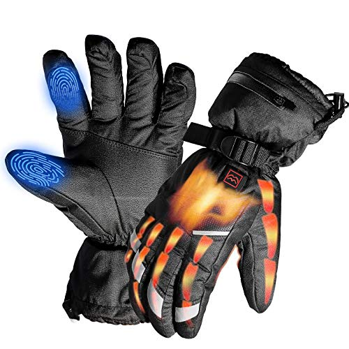 VerkTop Rechargeable Heated Gloves,Warm Touchscreen Electric Heating Gloves For Men Women Winter Waterproof Windproof Suitable For Skiing/Cycling/Hiking/Fishing