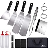 Anpro Griddle Accessories Set Tools, 15 PCS Flat Top Grill Accessories with Spatulas & Scraper,...