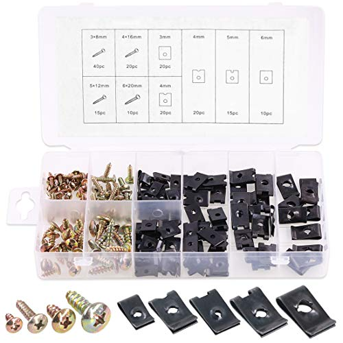 Rustark 170 Pcs U-Clip and Screw Assortment Kit 9 Sizes Auto Car Clips Fasteners with Screws Set in Store Case for Bumper Dash Door Panel Interior