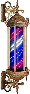KauiP Waterproof Outdoor Barber Shop Pole Rotating and Illuminated for Hairdressing Salon Sign Barber Pole Led Light - Red White Blue Stripes Retro Save Energy Wall Lamp 90cm/35in,B