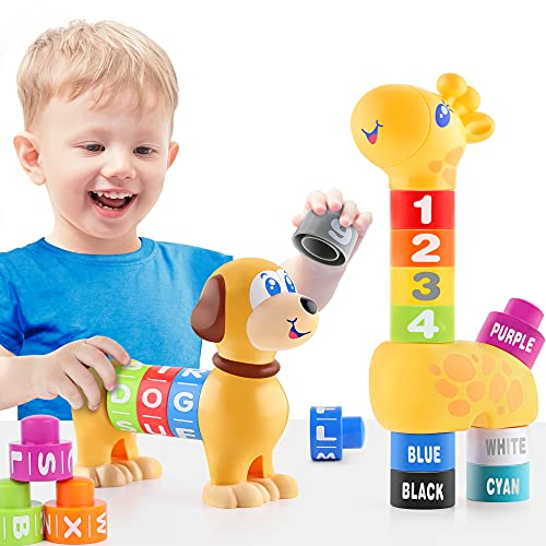 iPlay, iLearn Baby Toy Stacking Block Sets, Toddler Building Blocks, Infant Alphabet Number Learning Toys, Educational Counting, Development Birthday Gifts for 12 18 Month, 1 2 3 Year Old Kid Boy Girl