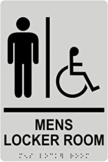 Mens Locker Room Sign, ADA-Compliant Braille and Raised Letters, 9x6 in. Pearl Gray Acrylic Plastic with Adhesive Mounting Strips by ComplianceSigns