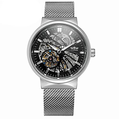 Excellent Reloj automático de los Hombres con Esfera Hueca y Correa de Acero Inoxidable Moda decoración de Ocio Reloj mecánico automático,A06