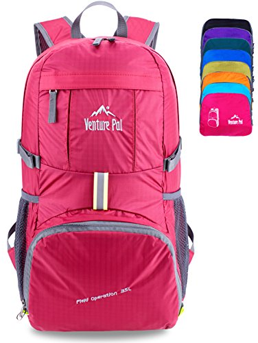 Venture Pal Ultralight Lightweight Packable Foldable Travel Camping Hiking Outdoor Sports Backpack Daypack-Fuschia