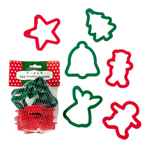 Set of 12 Plastic Christmas Cookie Cutters - 6 Fun Festive Designs - 2 Colors