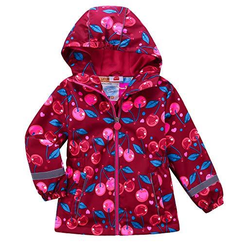 Echinodon Mädchen Gefütterte Jacke Tailliert Reflektoren Wasserabweisend Outdoorjacke Kinder Übergangsjacke Regenjacke Wanderjacke Rot